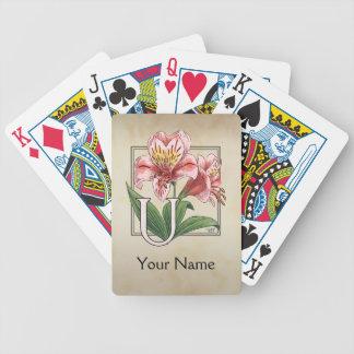 Personalisiertes Blumen-Monogramm Ulsters Mary Bicycle Spielkarten