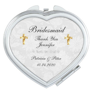Personalisiertes Brautjungfern-Kreuz Schminkspiegel