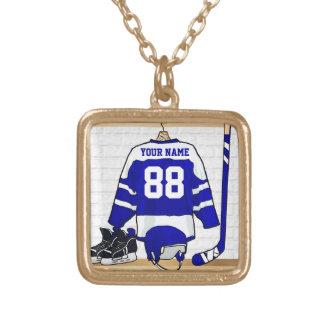 Personalisiertes Eis-Hockey Jersey Halskette Mit Quadratischem Anhänger