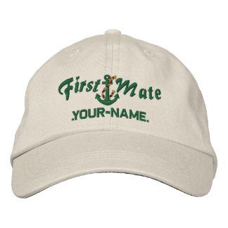 Personalisiertes erster Kamerad-Seil-Anker-Grün Bestickte Kappe