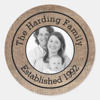 Personalisiertes Familien-Foto mit Imitat-Leinwand Runder Aufkleber