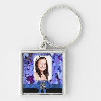 Personalisiertes Foto der blauen Blume Schlüsselanhänger