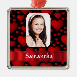 Personalisiertes Foto des roten Herzens Silbernes Ornament