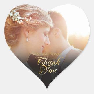 Personalisiertes Foto-Goldskript danken Ihnen Herz-Aufkleber