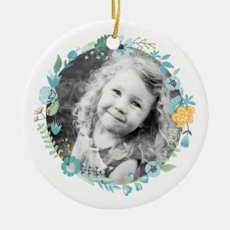 Personalisiertes Fotoempfindlicher BlumenWreath Keramik Ornament