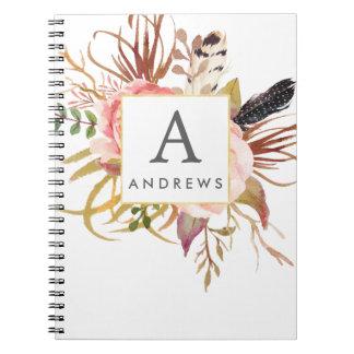 Personalisiertes gerahmtes mit Blumennotizbuch Notizblock