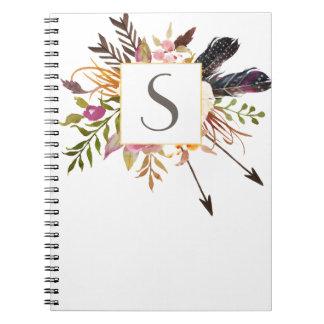 Personalisiertes gerahmtes mit Blumennotizbuch Spiral Notizblock