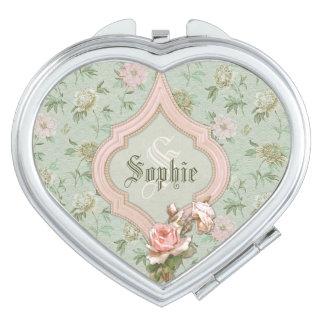 Personalisiertes Girly Chic-Grün und rosa Blumen Schminkspiegel