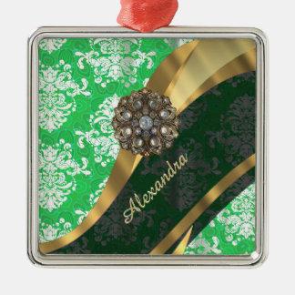 Personalisiertes grünes hübsches girly quadratisches silberfarbenes ornament