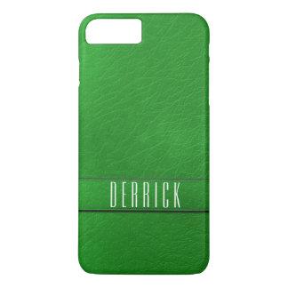 Personalisiertes grünes Imitat-lederner iPhone 7 Plus Hülle