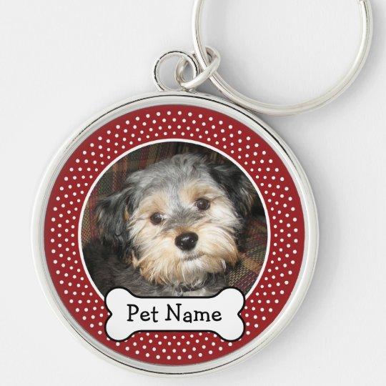 Personalisiertes Haustier-Foto mit dem Silberfarbener Runder Schlüsselanhänger