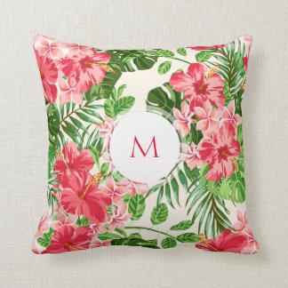 Personalisiertes Hibiskus-Blumen-Monogramm-Kissen Zierkissen