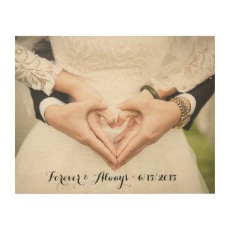 Personalisiertes Hochzeits-Foto für immer u. immer Holzleinwände