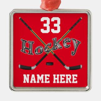 PERSONALISIERTES Hockey verziert Ihren Namen und Quadratisches Silberfarbenes Ornament
