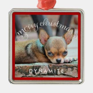 Personalisiertes Hundeweihnachten verziert Quadratisches Silberfarbenes Ornament