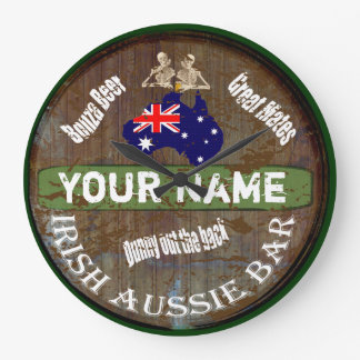 Personalisiertes irisches australisches Pubzeichen Große Wanduhr