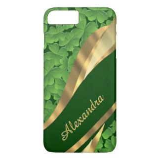 Personalisiertes irisches grünes Kleeblattmuster iPhone 8 Plus/7 Plus Hülle
