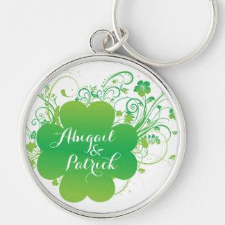Personalisiertes irisches Kleeblatt Keychain Schlüsselanhänger