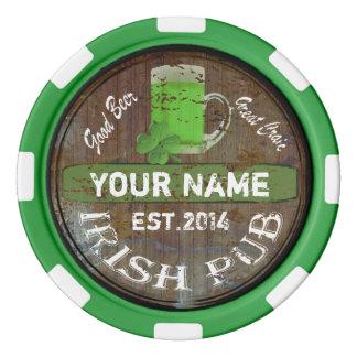 Personalisiertes irisches Pubzeichen Pokerchips