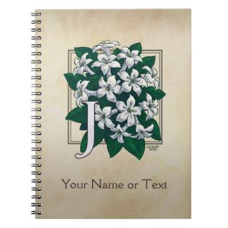 Personalisiertes Jasmin-Blumen-Monogramm Spiral Notizblock