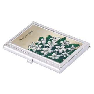 Personalisiertes Jasmin-Blumen-Monogramm Visitenkarten Dose