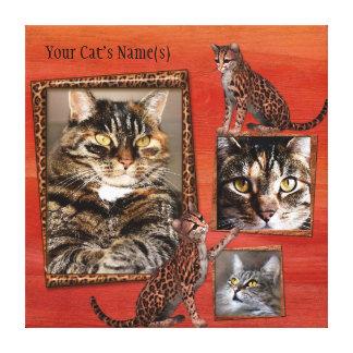Personalisiertes Katzen-Foto eingewickelte Leinwanddruck