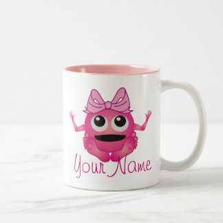 Personalisiertes kleines Monster-Mädchen-Rosa Zweifarbige Tasse