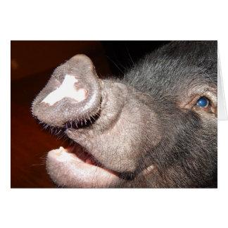 Personalisiertes Lächeln, singend, Minischwein Grußkarte