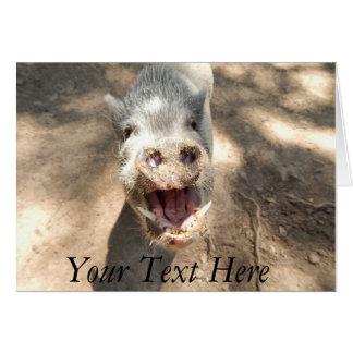 Personalisiertes lächelndes Minischwein Grußkarte