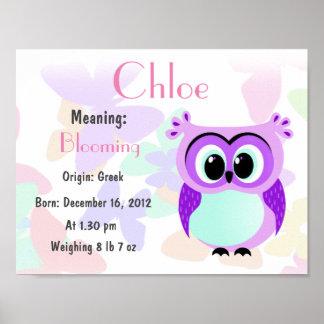 Personalisiertes Lavendeleulen-Kinderzimmer Poster