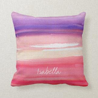Personalisiertes modernes rosa/korallenrot/lila kissen