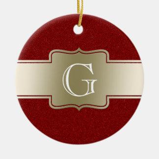 Personalisiertes Monogramm| Chic-Goldroter Rundes Keramik Ornament