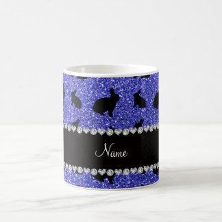 Personalisiertes Namensblaues Glitterneonhäschen Kaffeetasse