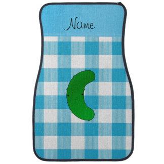Personalisiertes Namensessiggurkenblau-Schachbrett Autofußmatte