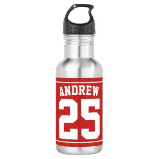 Personalisiertes Namensfußball-Rot Edelstahlflasche