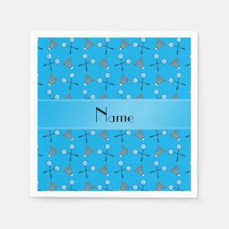 Personalisiertes Namenshimmelblau-Badmintonmuster Papierservietten