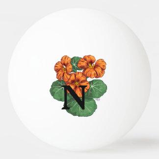 Personalisiertes Nasturiums Blumen-Monogramm Ping-Pong Ball