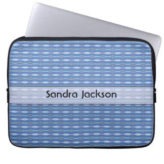 Personalisiertes niedliches blaues Muster Laptop Sleeve