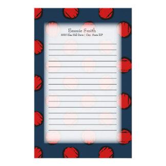 Personalisiertes niedliches Marine-Blau mit roten Briefpapier