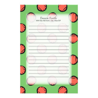 Personalisiertes niedliches Neongrün mit rosa Briefpapier