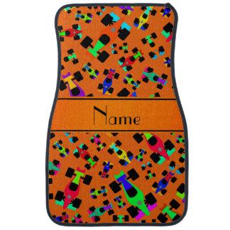 Personalisiertes orange Rennenautonamensmuster Autofußmatte