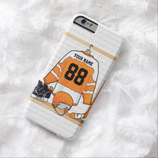 Personalisiertes orange und weißes Eis-Hockey Barely There iPhone 6 Hülle
