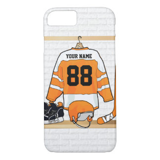 Personalisiertes orange und weißes Eis-Hockey iPhone 8/7 Hülle