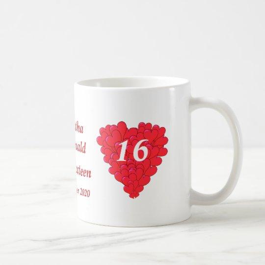 Personalisiertes romantisches Herz 16. Geburtstag Tasse