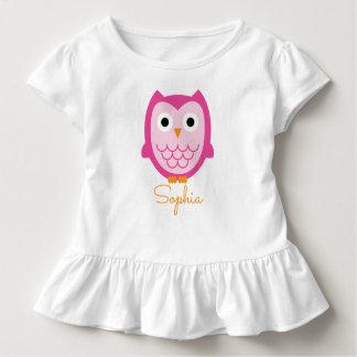 Personalisiertes rosa Eulen-Shirt Kleinkind T-shirt