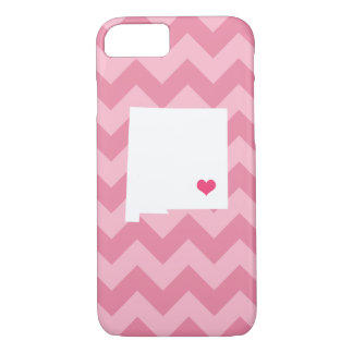 Personalisiertes rosa Zickzack New-Mexiko Herz iPhone 8/7 Hülle