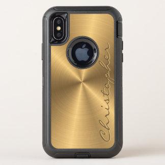 Personalisiertes rostfreier Stahl-Goldmetallischer OtterBox Defender iPhone X Hülle