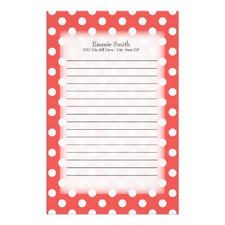 Personalisiertes Rot mit weißen Polka-Punkten Briefpapier