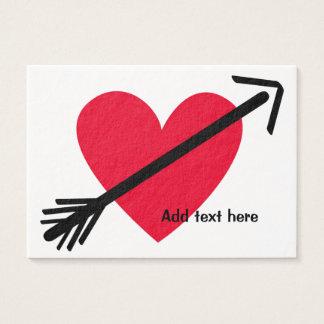 Personalisiertes rotes Herz mit dem Tag Visitenkarte