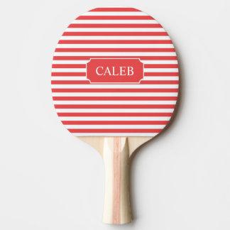Personalisiertes rotes StreifenPing Pong Paddel Tischtennis Schläger